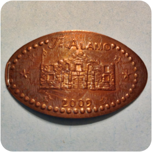 Retired The Alamo Dated 2009 With Six Stars, San Antonio TX Texas Elongated Coin