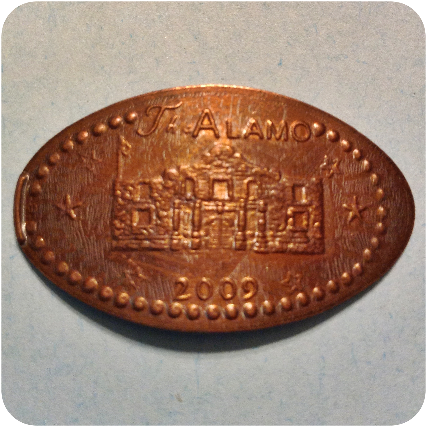 Retired The Alamo Dated 2009 With Six Stars, San Antonio TX Texas Elongated Coin