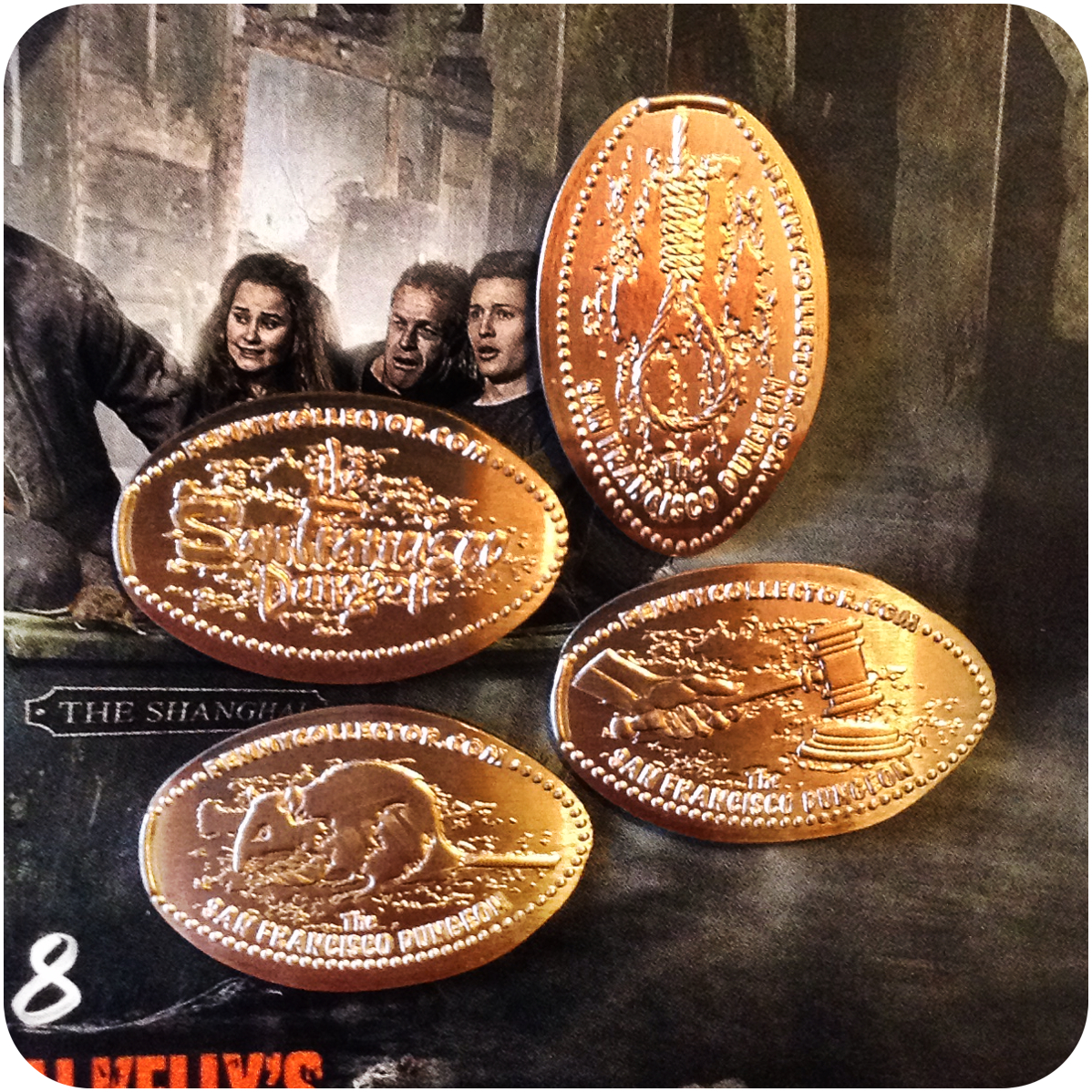 Full Copper Set of The San Francisco Dungeon at Fisherman's Wharf plus Brochure!
