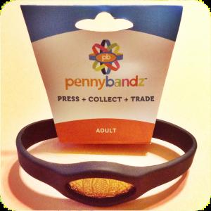 Pennybandz® Elongated Pressed Penny Holder Wristband Adult Size Large Black Wolf
