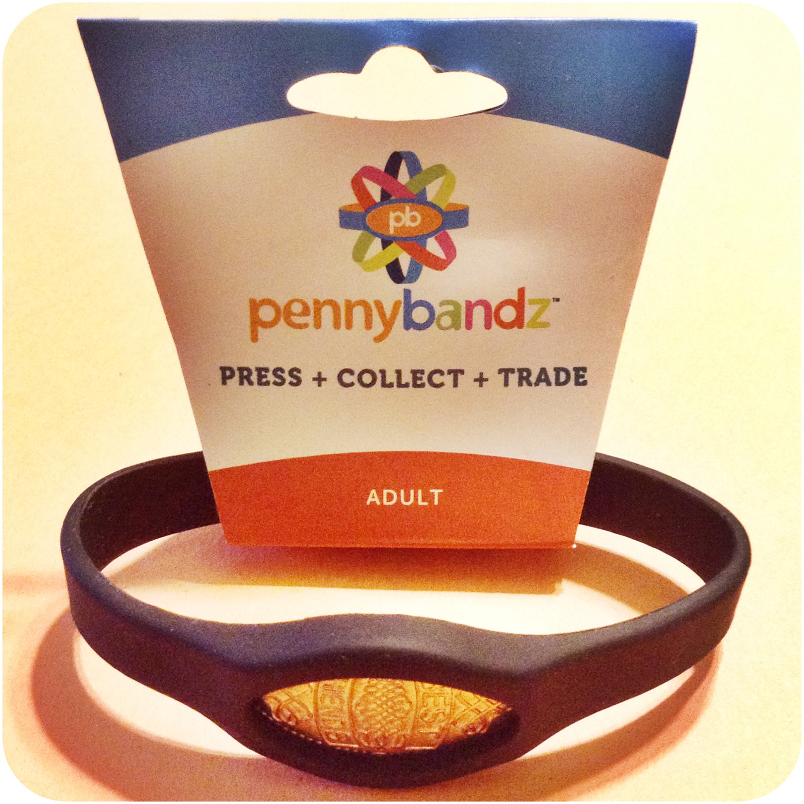 Pennybandz® Elongated Pressed Penny Holder Wristband Adult Size Large Black Wolf