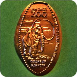 Columbian Mammoth – San Diego Zoo – Balboa Park, California Smashed Copper Penny