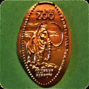 Columbian Mammoth – San Diego Zoo – Balboa Park, California Smashed Copper Penny