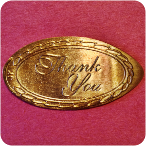"""""""Thank You!"""" with Rope Border Salutation Copper Penny engraved by James Kilcoyne"""