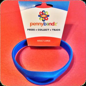 Cool Surfer Blue Pennybandz® Elongated Penny Holder Wristband - Adult Large Size