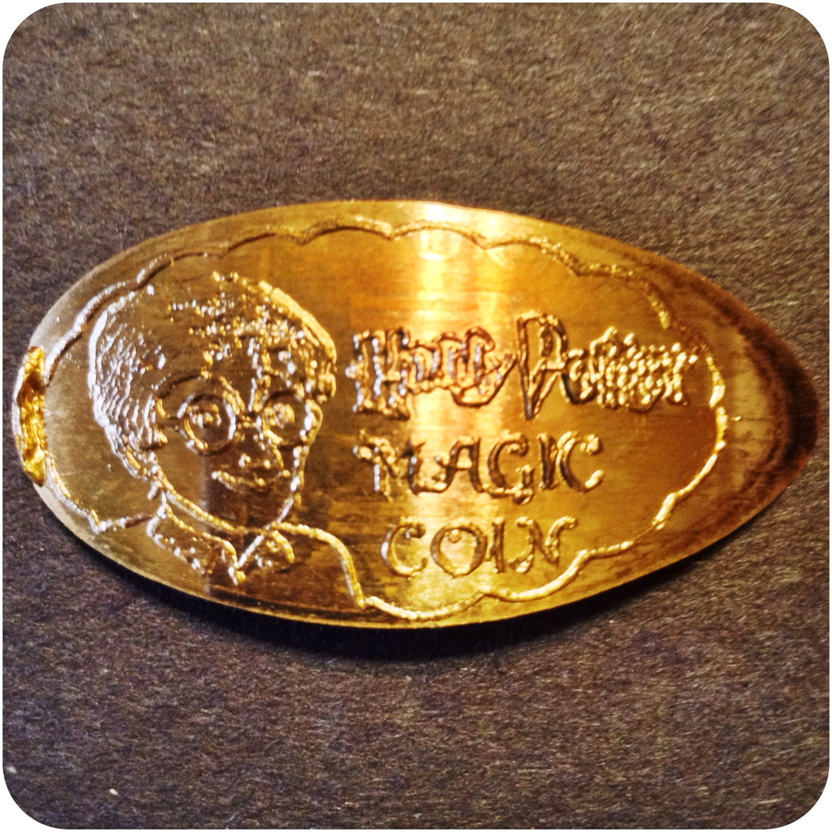 Harry Potter Magic Coin, Elongated Copper Penny Engraved by James Kilcoyne in KY