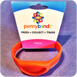 Hot Lava Orange Pennybandz® Elongated Pressed Penny Holder Wristband, Youth Size