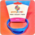 Hot Surfer Blue Pennybandz® Elongated Pressed Penny Holder Wristband, Youth Size