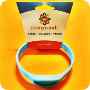 Ocean Turquoise Pennybandz® Elongated Penny Holder Wristband in Adult Large Size