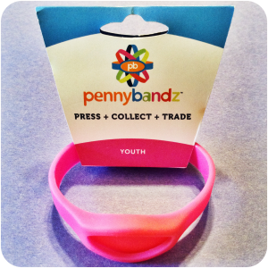Pink Flamingo Pennybandz® Elongated Pressed Penny Holder Wristband in Youth Size