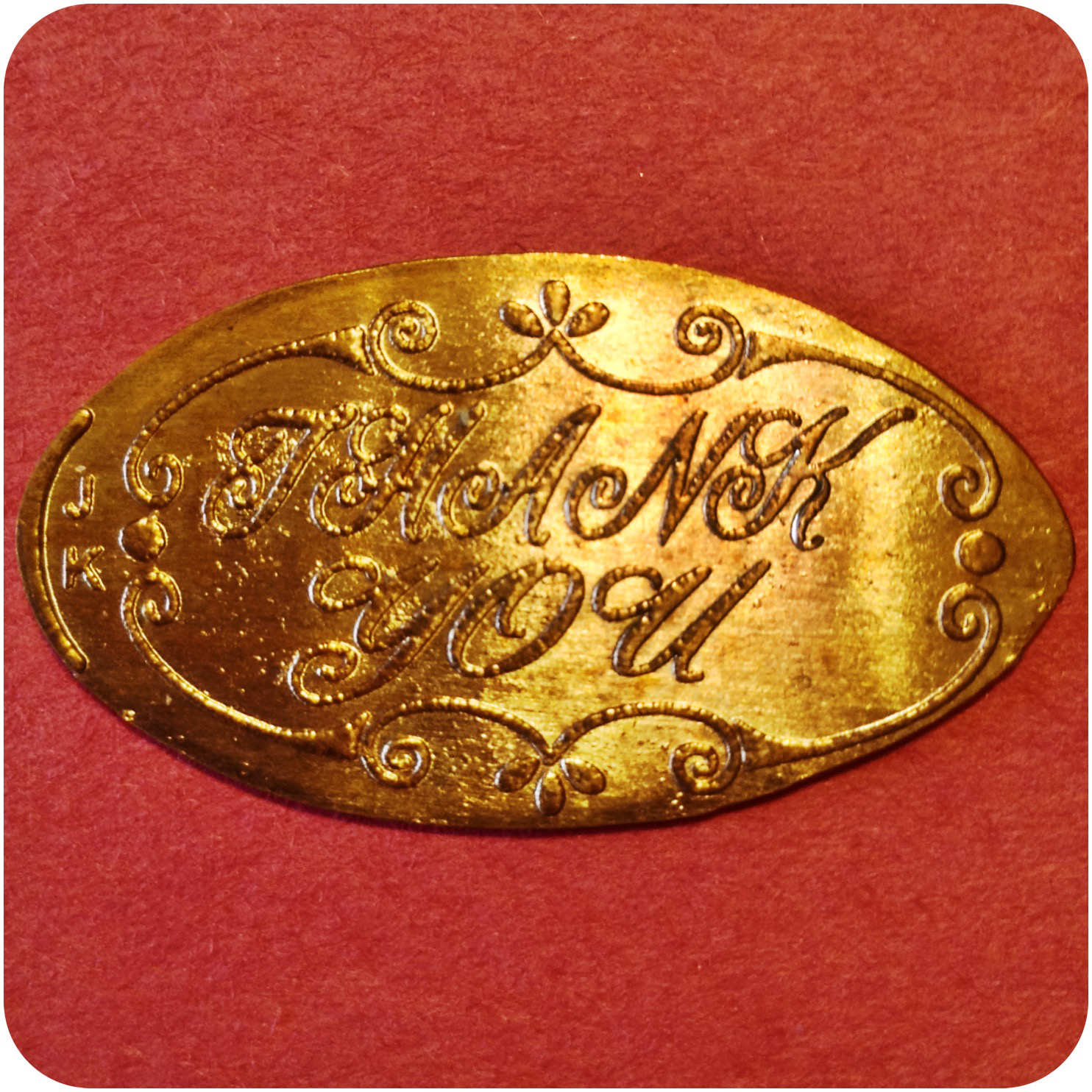 Thank You! with Scroll Border Salutation Copper Penny engraved by James Kilcoyne