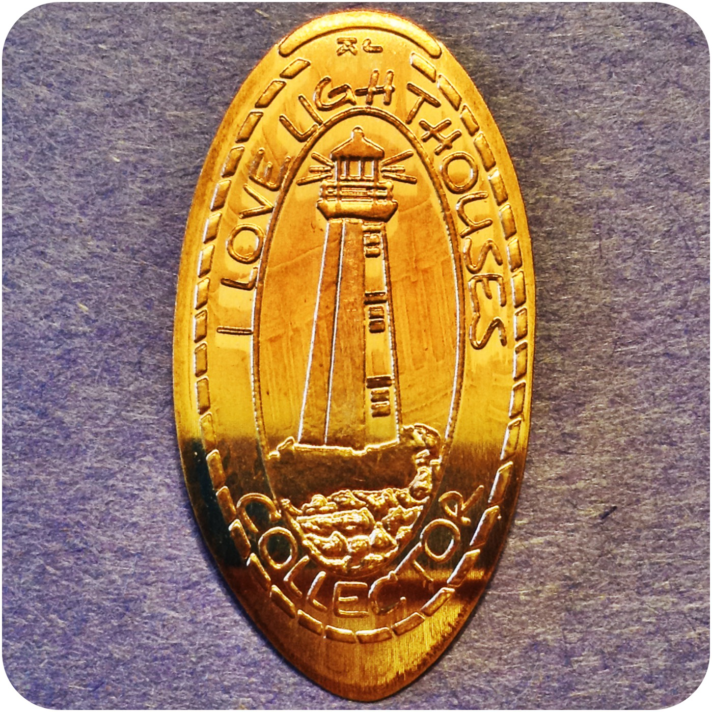 I Love Lighthouses Elongated Copper Collector Coin by James Kilcoyne in Kentucky