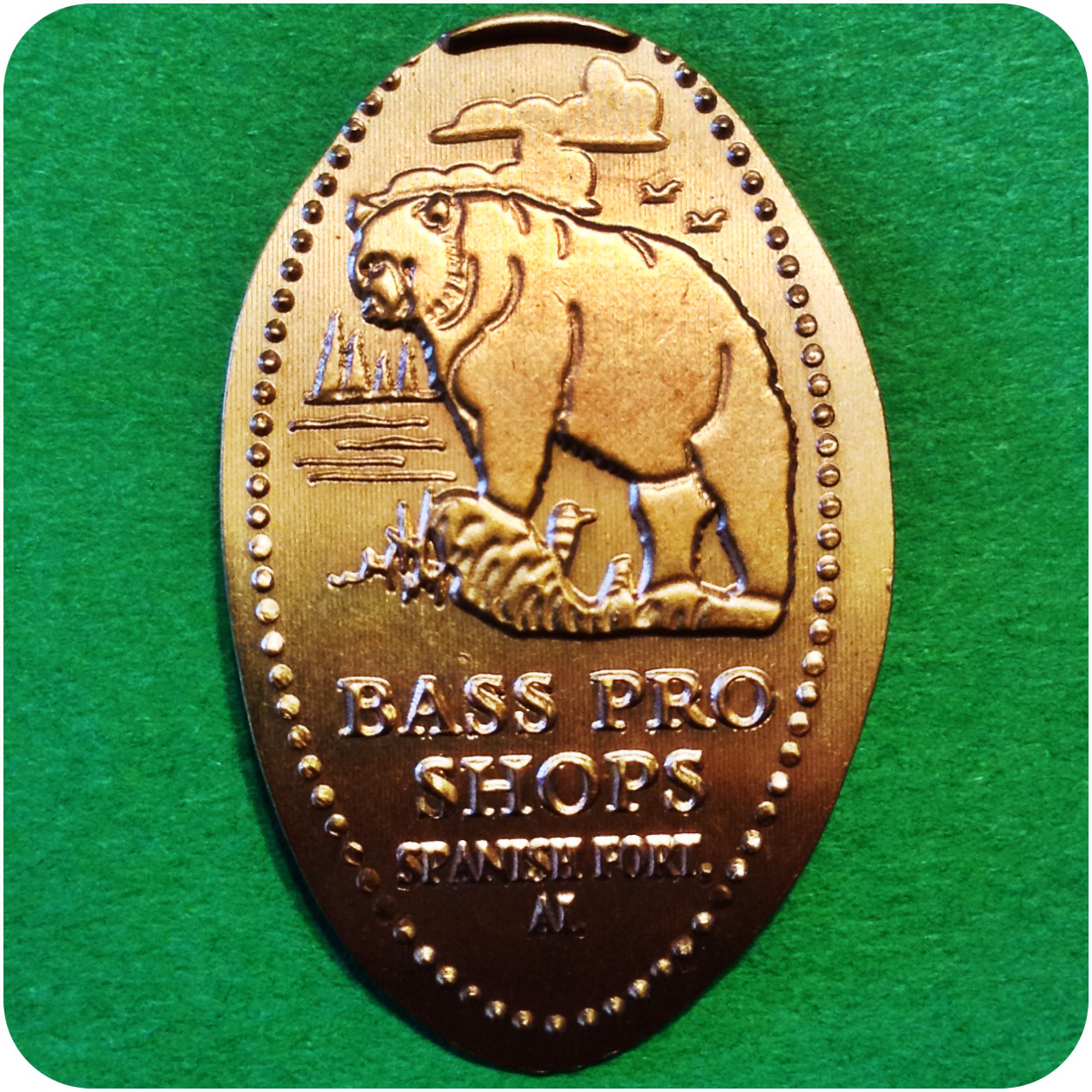 Black Bear, Bass Pro Shops, Spanish Fort, Alabama Elongated Smashed Copper Penny
